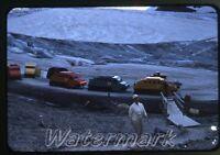 Vintage 1959 kodachrome photo slide Jasper Park Snowmobiles Alberta BC Canada