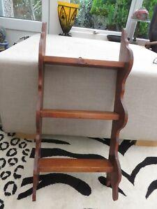 Vintage pine wooden shelf 3 shelves curved sides with 2 hanging hooks on back