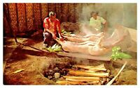 Luau Preparations Pig Hawaii Vintage Chrome Hawaiian Views Unposted Postcard F8