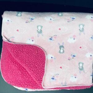Just Born Baby Blanket Pink w/ Gray Bunnies Rabbits Birds Clouds Sherpa Kohls