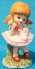 Vintage Homco Girl feeding Baby bunny Carrots Figurine Pristine Condition