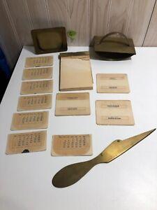 Vintage brass desk top calendar envelope opener note pad