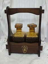 Vintage/Retro Tantalus Decanter Set. Amber Glass. Wooden Carrier. Home Decor