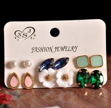 Cubic Zircon Flower Earring Jewelry 6Pairs/Set Gemstones Pearl Ear Stud Earrings