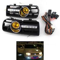 Front Bumper Grill Fog Light Grille W/ LED DRL Lamp for VW Golf MK4 97-03 B00B