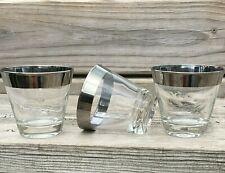 Vintage Rocks Lowball Glasses Silver Rim Old Fashioned Bar Set of 3 Barware