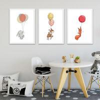 Nursery Cartoon Animal Rabbit Fox Canvas Poster Art Print Kid Bedroom Decoration