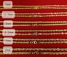 """10K Colar Ouro Amarelo sólido Cadeia De Corda 16"""" 18"""" 20"""" 22"""" 24"""" 26"""" 28"""" 30"""""""
