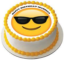 SUNGLASSES EMOJI 7.5 PREMIUM Edible RICE CARD Cake Topper CAN PERSONALISED D4