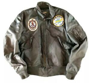Vintage Flight Jacket USN P-3 Orion Recruit Training Command Military Bomber USA