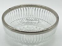 Vintage Glass Fruit Salad Bowl With Silver Plate Rim