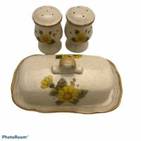 Vintage Mikasa sunny side, covered butter dish& Matching Salt and Pepper Shakers