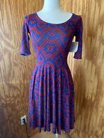NWT Lularoe Nicole Dress Womens XXS Blue &Red Print Flowy 3/4 Sleeves Stretch