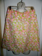 Vintage 1970s LILLY PULITZER The Lilly Pink Green Floral Cotton Skirt Size 14