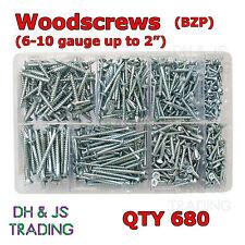 Assorted Box of Wood Screws Qty 680 Gauge 6 8 10 - 1/2 3/4 1 2 BZP Woodscrews