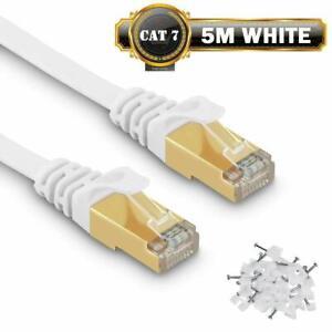 Câble Ethernet 5 M Cat7 Câble réseau Plat Haut Débit Blindé RJ45 10Gbps 750MH...