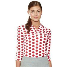 """NWT Lizzie Driver Polo """"Copacabana"""" Golf Shirt White with Red Polka Dot Size S"""
