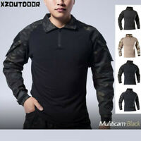 Mens Military Tactical Long Sleeve T-shirt Army Combat Casual Hiking Camouflage