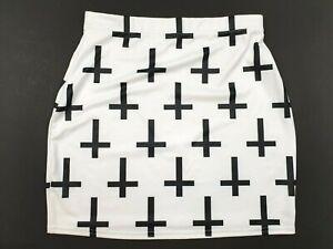Black Milk Blackmilk Size Medium M Cross Of St Peters White Mini Skirt