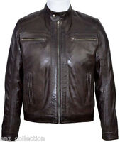 Cage Men's Brown WAX Short Bomber Biker Motorcycle Style Premium Leather Jacket