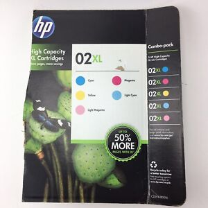 HP 02 02XL Printer Ink Cartridges Lot of 4 - Warranty Ends 02/15 No Yellow
