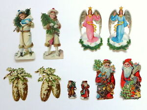Sammlung 10 Oblaten Weihnachten Weihnachtsmann Glanzbild um 1910   6,8 - 15,5 cm