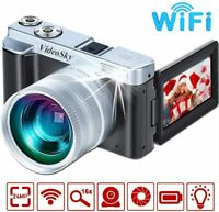 Digital Camera Camcorder,FHD 1080p wifi Video Camera with Wide Lens MAX 24.0MP