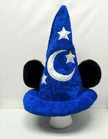 Mickey Mouse Wizard Sorcerer Plush Blue Hat ADULT Ears Disney Parks Fantasia