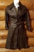 VINTAGE 70s LEATHERMASTER belted BROWN Coat Hipster SMALL