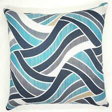 Handmade Abstract Shades of Aqua,Teal and Grey  Textured Cushion Cover 45x45