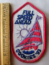 Girl Scout 1993 COOKIE SALE PATCH Full Spead Ahead Sailboat Selling PURPLE SUN