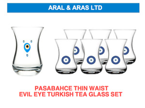 ✅ PASABAHCE Thin Waist *Turkish Tea Glass* Set *EVIL EYE* Design (6 or 12 PC) ✅