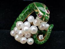 Vintage 14k Yellow Gold Diamond Pearl Ruby Enamel Snake Ring Designer Ring 9.6 g