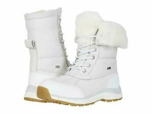 NIB UGG Women's ADIRONDACK III Leather Fluff Winter Waterproof Boots WHITE