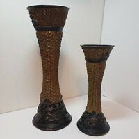 """2 Pillar Candle Holder Crafted Decorative Polyresin 13 3/4"""" & 9 3/4"""" Tall"""