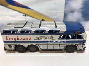 Vintage Tinplate Greyhound Bus With Friction Drive Made in Hong Kong 15cm Long