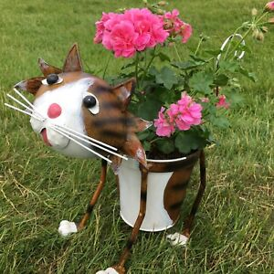 NODDING METAL CAT PLANTER OUTDOOR POT GARDEN ORNAMENT WITH SPRINGY TAIL
