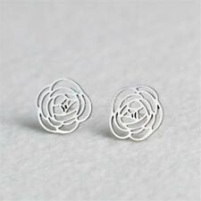 Fashion Women Flower Stainless Steel Stud Earrings Jewelry Gifts Gold/Silver New