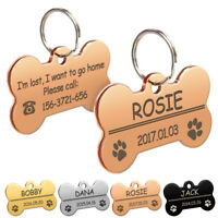 Personalized Dog Name Tag Custom ID Free Engraved Bone Shape Collar Necklace Tag