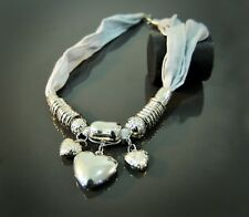 Lagenlook / Boho Quirky White & Silver Chunky Metal Hearts Statement Necklace