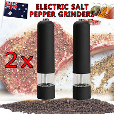 2x New Black ELECTRIC Salt And Pepper Grinders Kitchen Tool Hot