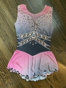 Pink And Gray Ombre Figure Skating Dress Costume Child 8-12