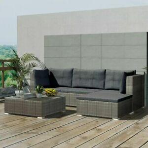 vidaXL 14 Pieces Garden Lounge Set Poly Rattan Grey Outdoor Lounge Couch