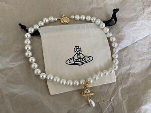 vivienne westwood 3d orb Pearl necklace gold