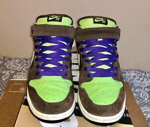 "Nike SB Dunk Mid Pro ""Donatello"" Brown Radiant Green Size 11.5 314383-231"