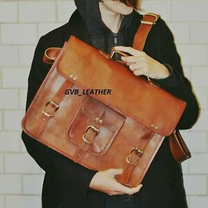 Genuine Vintage Vilage made Leather Messenger Shoulder Satchel Briefcase Bag