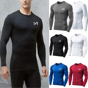 Kompressionsshirt Herren T-Shirt Funktionsshirt Sport Laufshirt langarm Sporttop