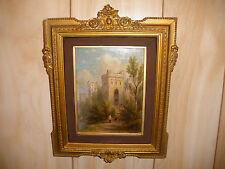 LISTED WILLIAM RICKARBY MILLER (American, 1818-1893) OIL PAINTING PEOPLE CASTLE
