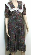VTG Long Dress Women Juniors 13 Amish Floral Green Red Mix Leslie Fay S Modest