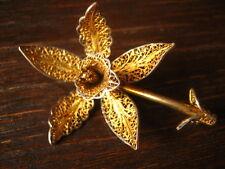 hauchfeine Jugendstil Brosche Orchidee Brassia Filigranarbeit 835er Silber gold